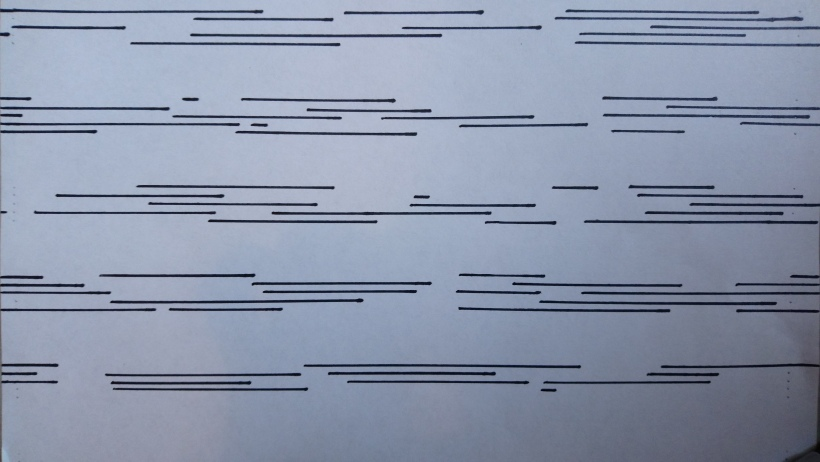 In-progress graphic score - lines of differing lengths